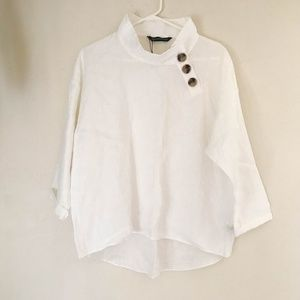ZARA WOMAN 100% Linen Top With Buttons High-Low